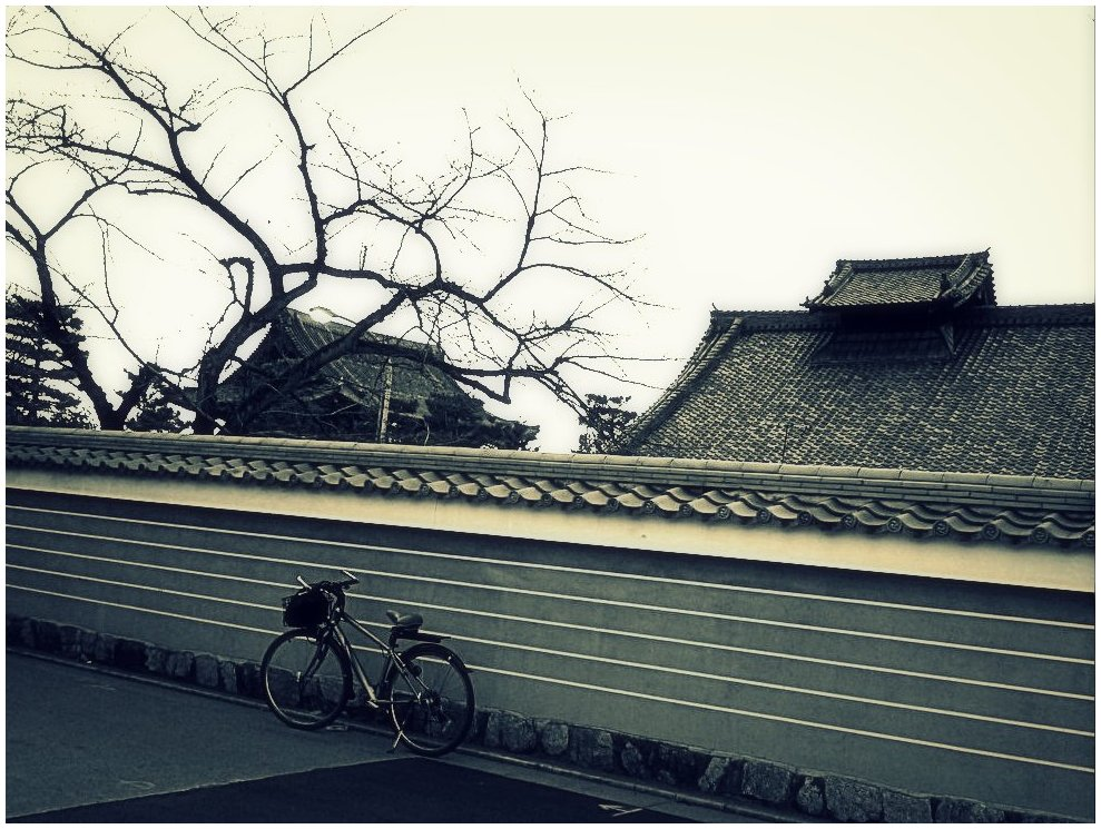 Bicycle by a temple wall