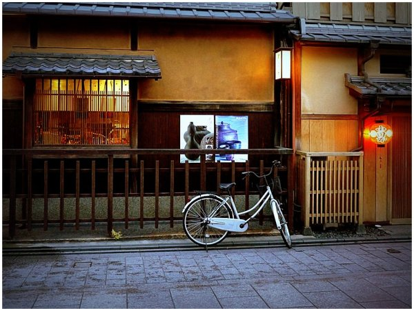 Bicycle outside traditional Japanese house