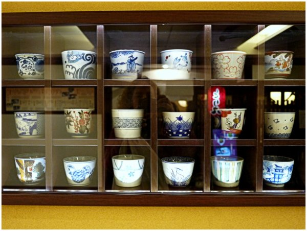 Display of japanese cups in restaurant window