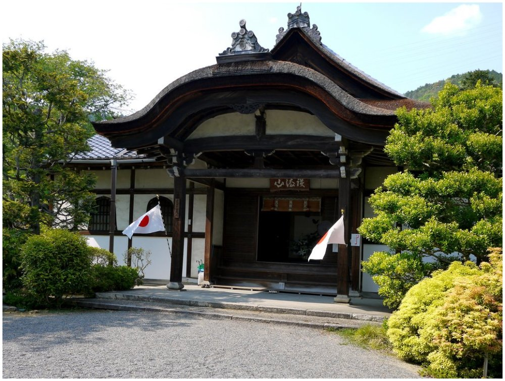Japanese temple with flags