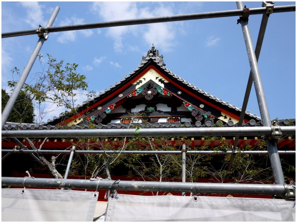 Japanese temple undergoing restoration