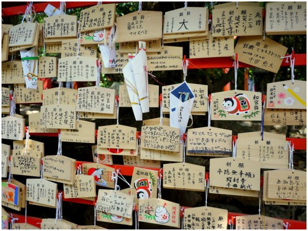 Prayers on pieces of wood at a shrine