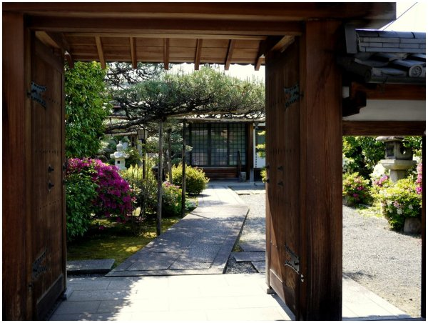 Glimpses of garden framed by Japanese gates