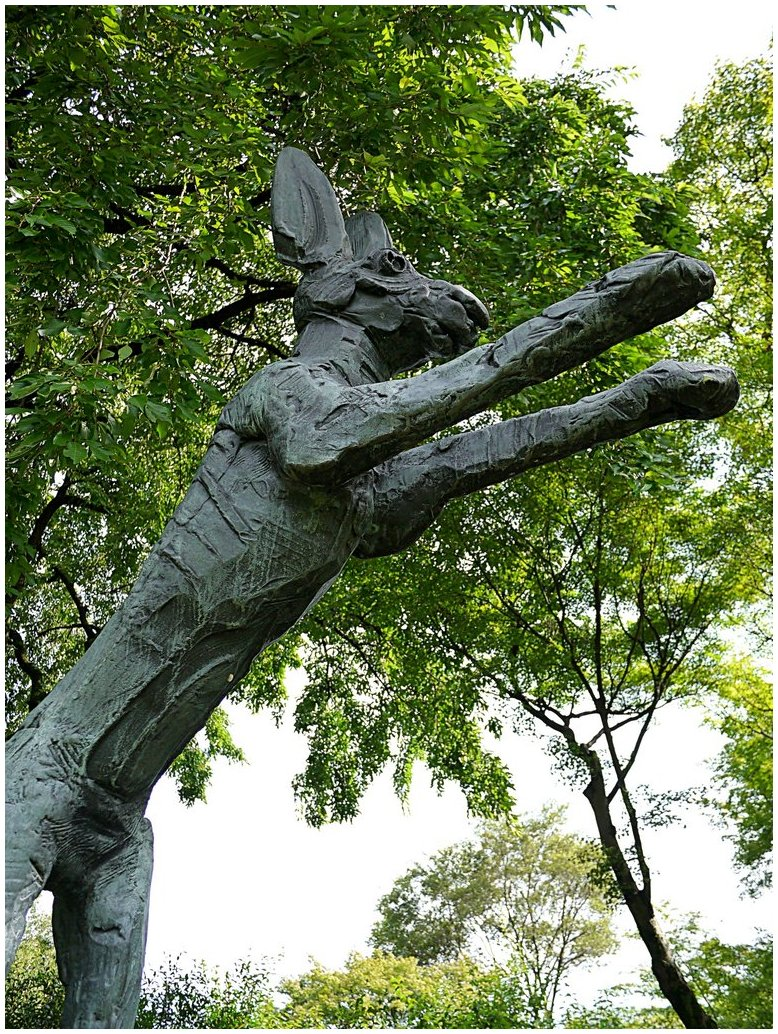 Bronze statue of leaping hare