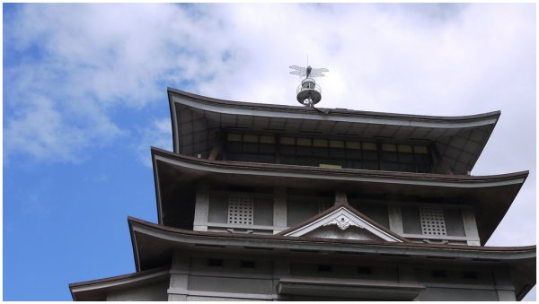 Model dragonfly on Japanese castle