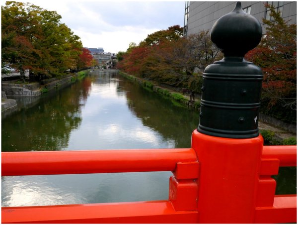 View of autumn colors along a canal in Kyoto