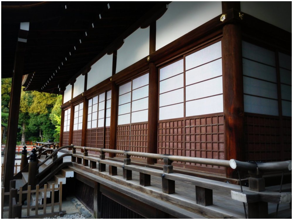 Wooden Japanese shrine building