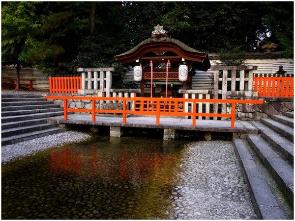 Small Japanese shrine on a bridge