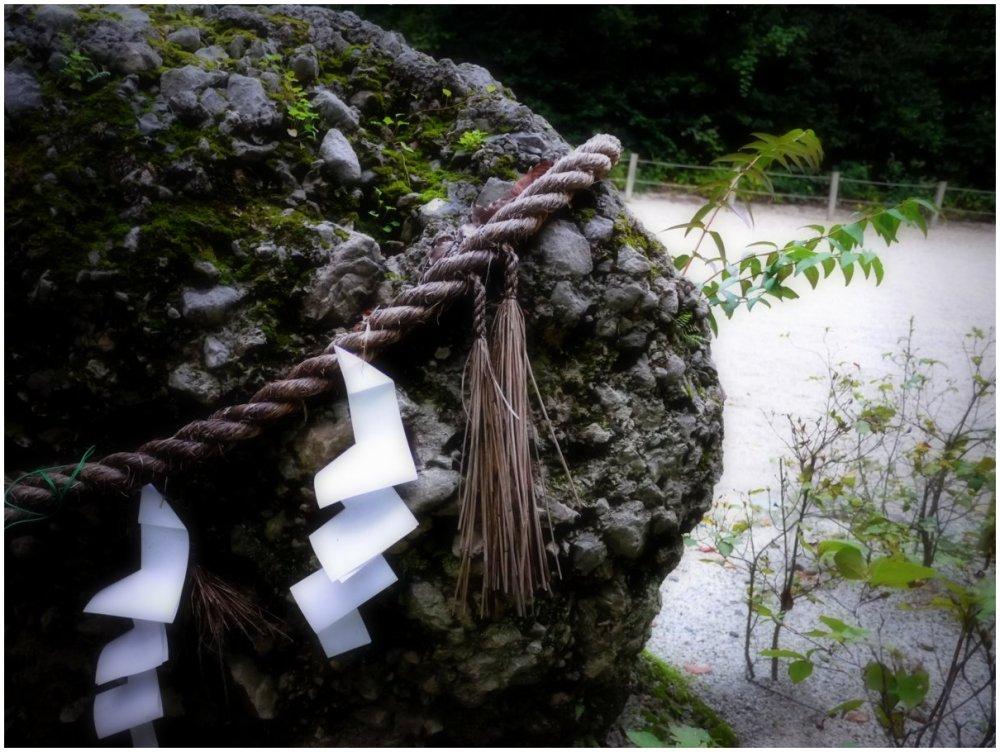 Sacred rock at Japanese shrine