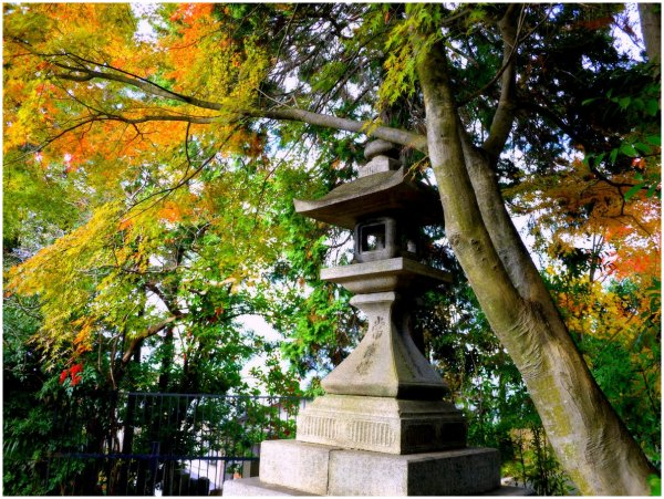 Japanese stone lantern with autumn leaves