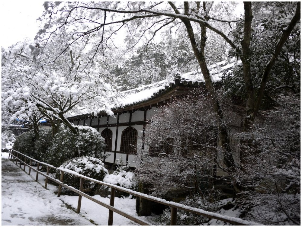 Japanese temple wall snow