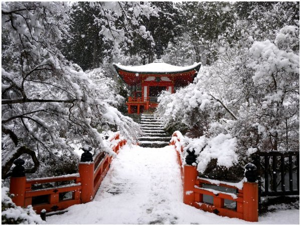 Red Japanese temple and bridge in snow