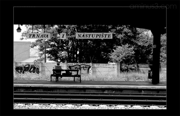 Waiting for train artistic photo