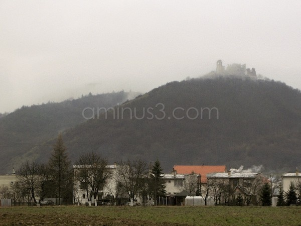 Old ruined castel in foggy day, Brekov -Slovakia.