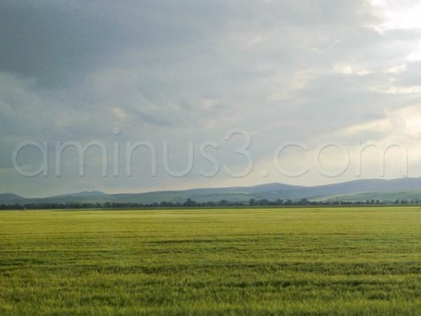 Landscape take from  evening train trip to Trnava.