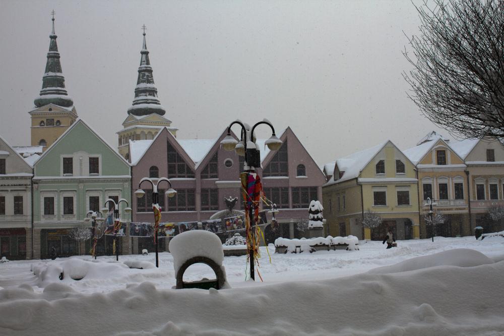 Snow cower in Marianske namestie, Slovakia.