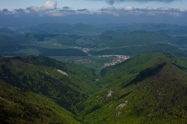 View from mala fatra on a Slovak forest & village.
