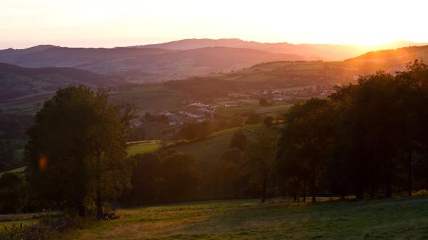 Rural sunset landscape near Cenves France.