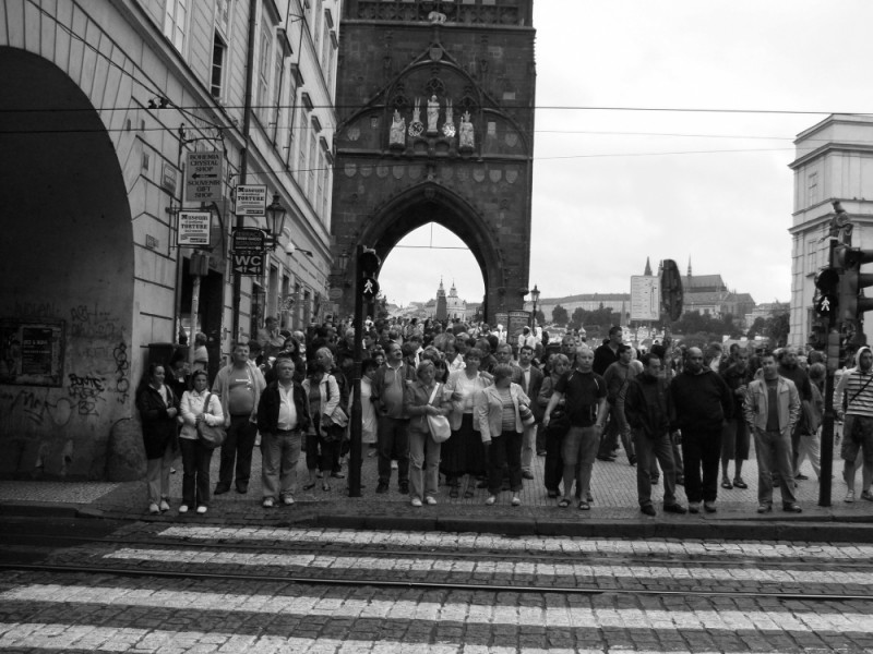 Tourists at the Charles Bridge in Prague