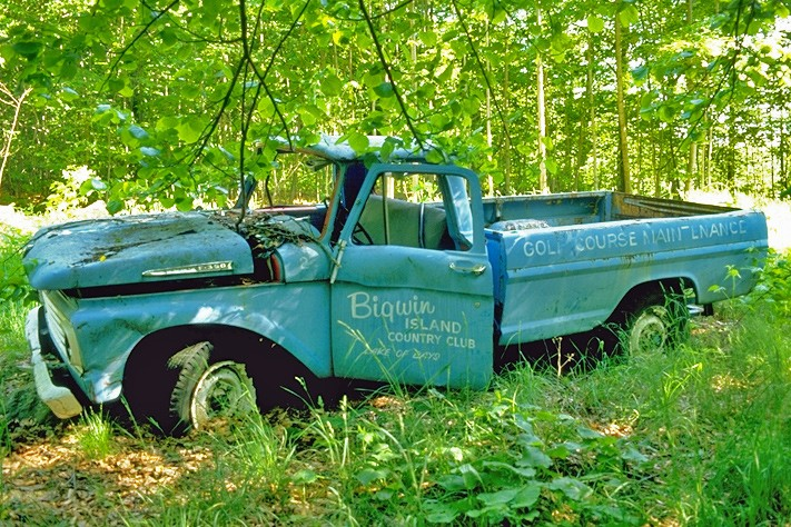 Abandoned golf course maintenance truck