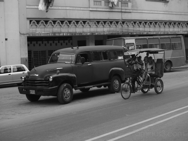 big cuban car, bike taxi, cuban transportation,