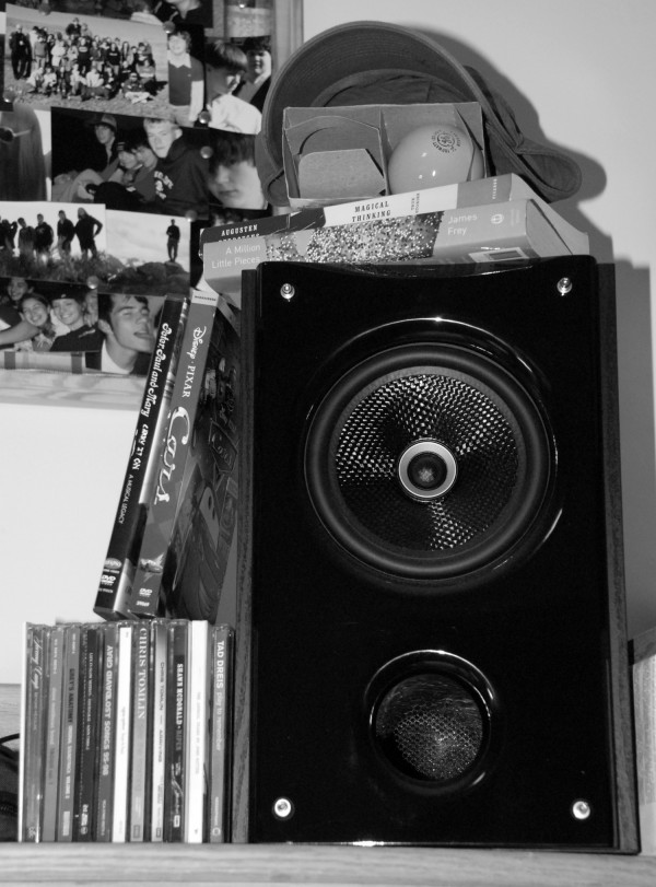 Stack of CD's and DVD's next to bookshelf speaker.