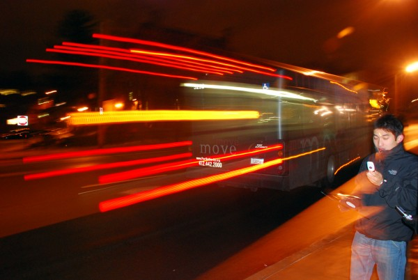 A city bus departs from Forbes and Moorewood.