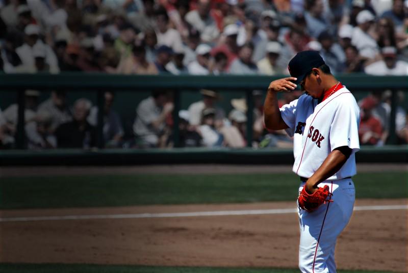 Daisuke Matsuzaka between pitches on Sunday.