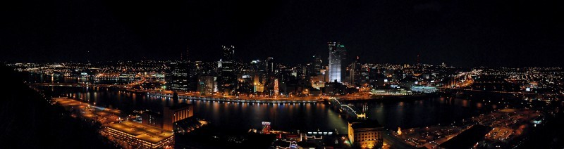 Downtown Pittsburgh at night from the Incline.