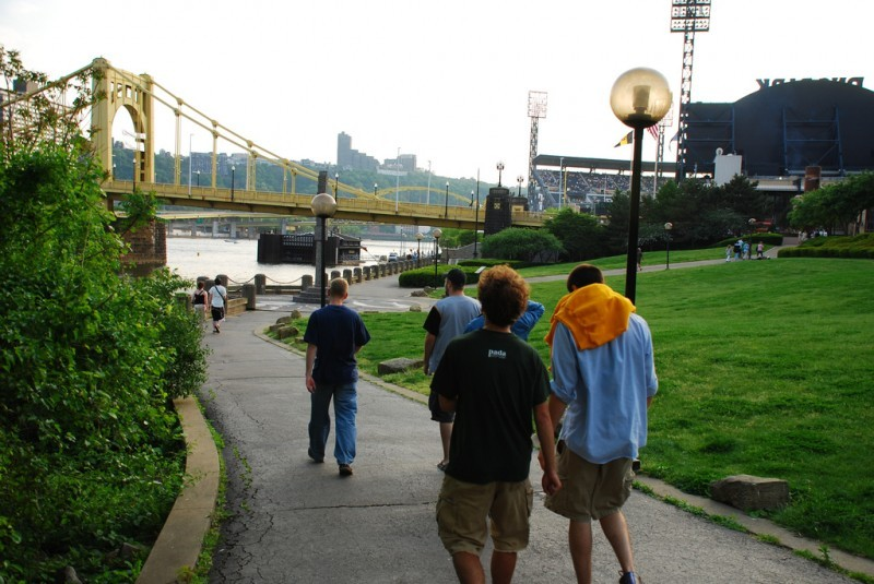 Walking with friends to PNC Park.