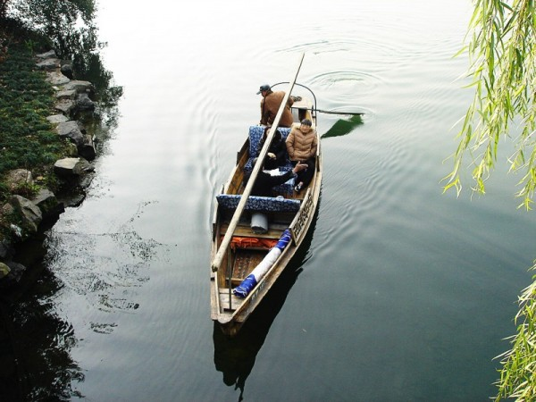 tourists in a rowboat in china
