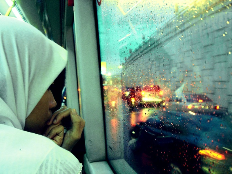 traffic lonely woman bus