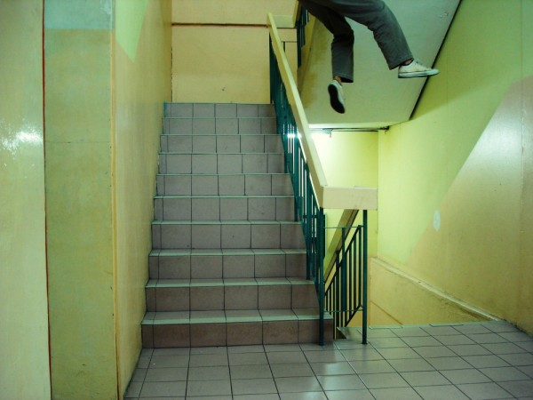 performing stupid yet i guess cool stunt at stairs