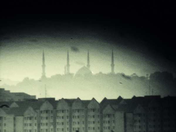 lomography of malaysia mosque at a horizontal line