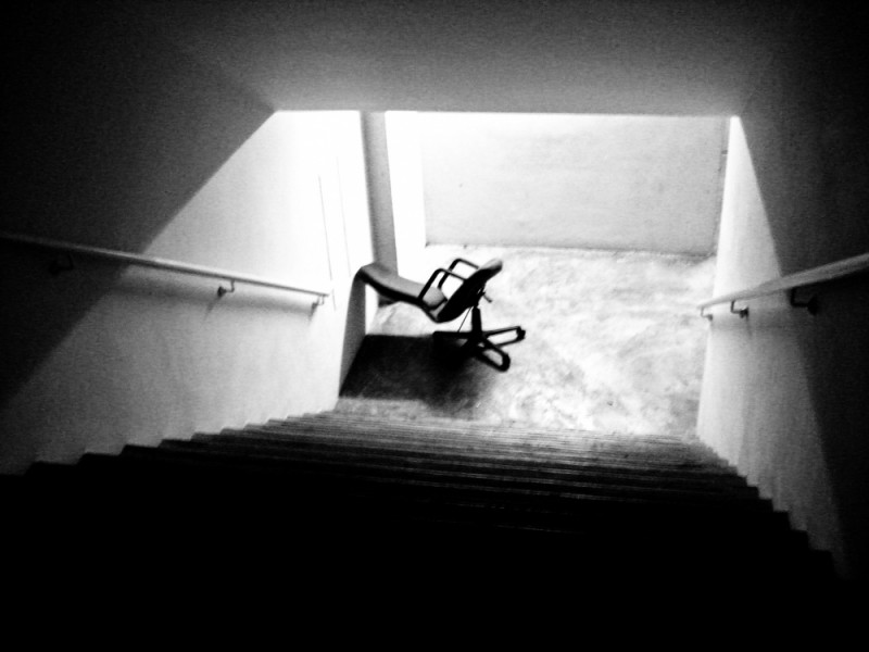 the chair is in emo in emergency stair case B&W