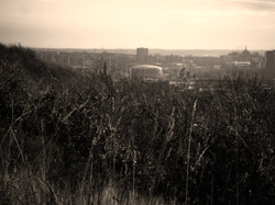looking over at leeds city centre from a hill