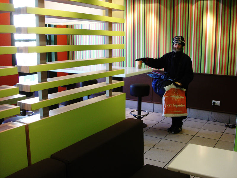 voyager with his belongings takes shelter mcdonald