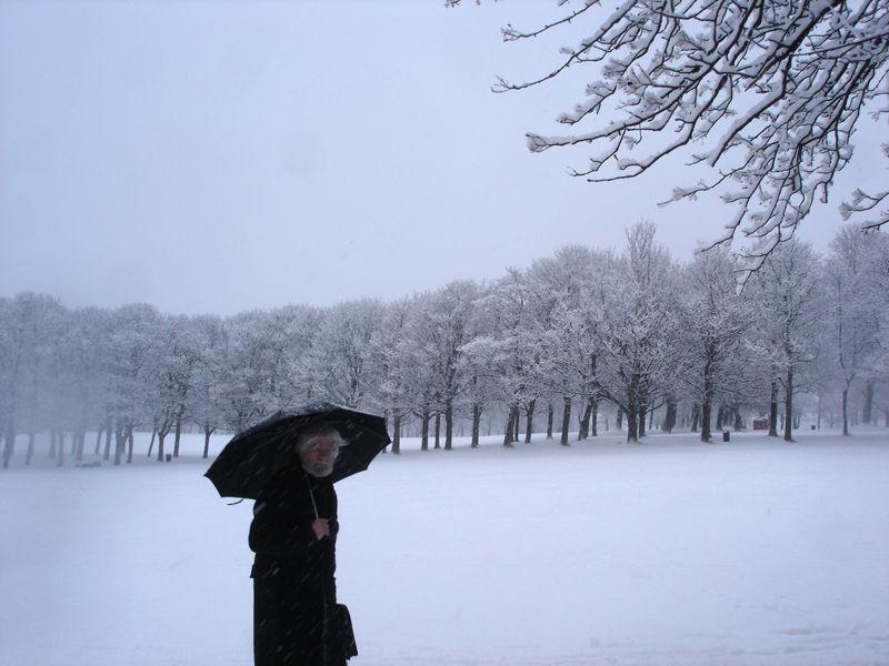 scholar walking in the snow