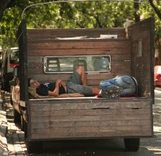 guys napping in a truck