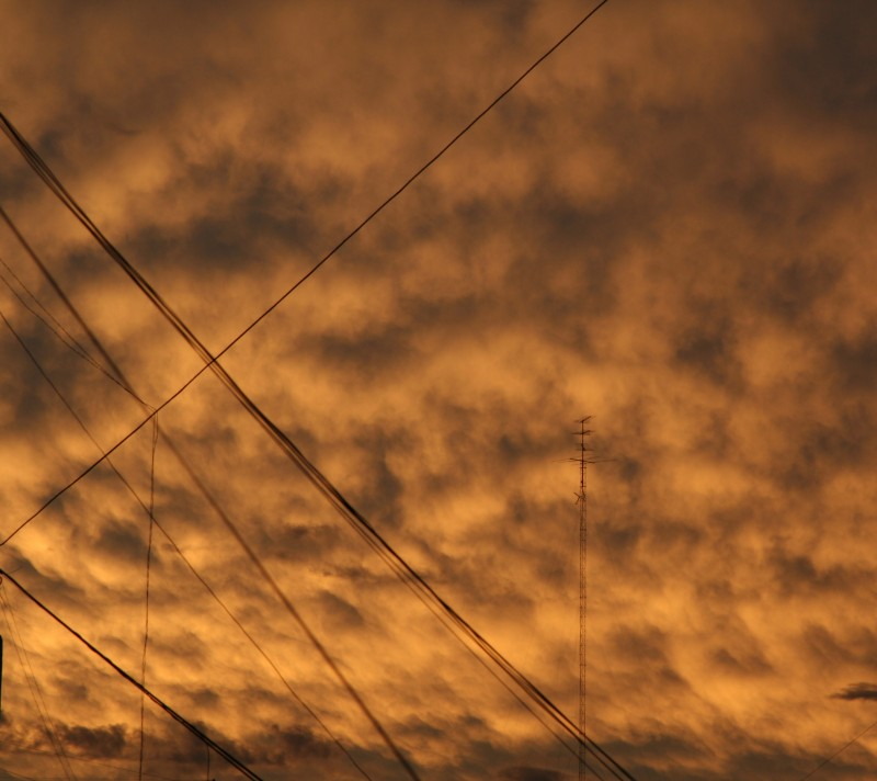 sunset with wires