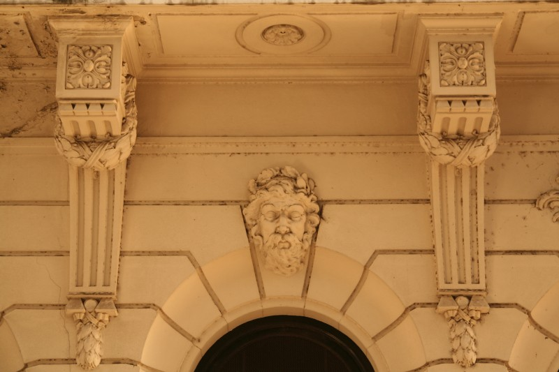 carvings on the buildings