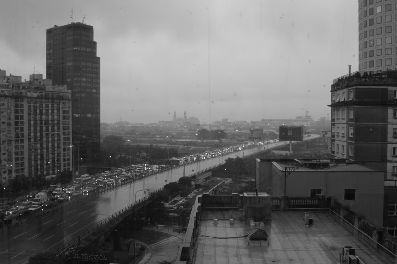 grainy old black and white rain