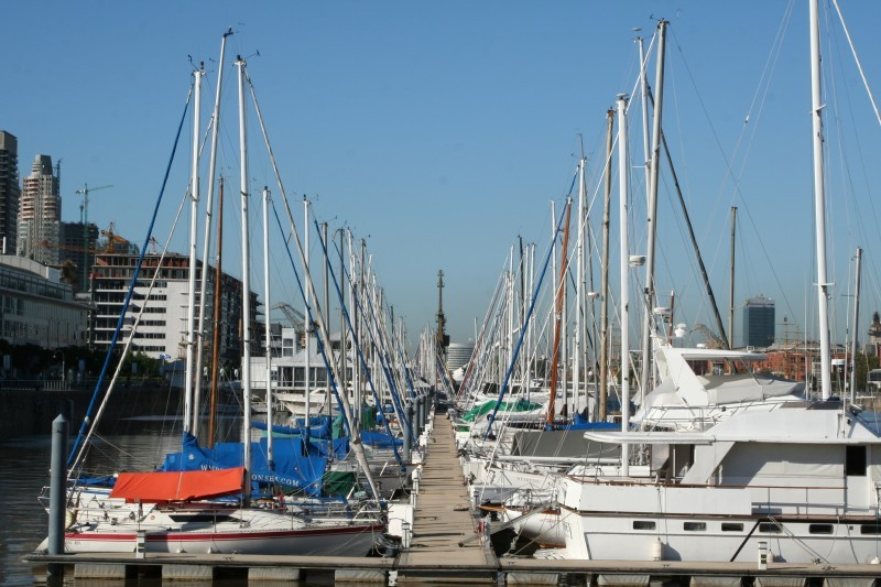 docked yachts in puerto madero