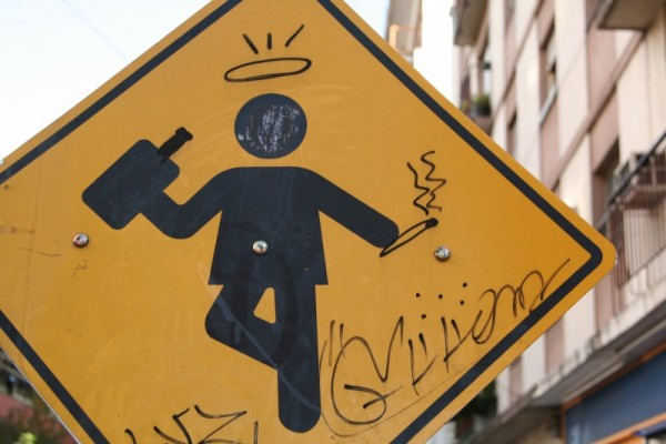 defaced sign