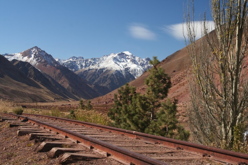 mountain landscape with railroad in the andes