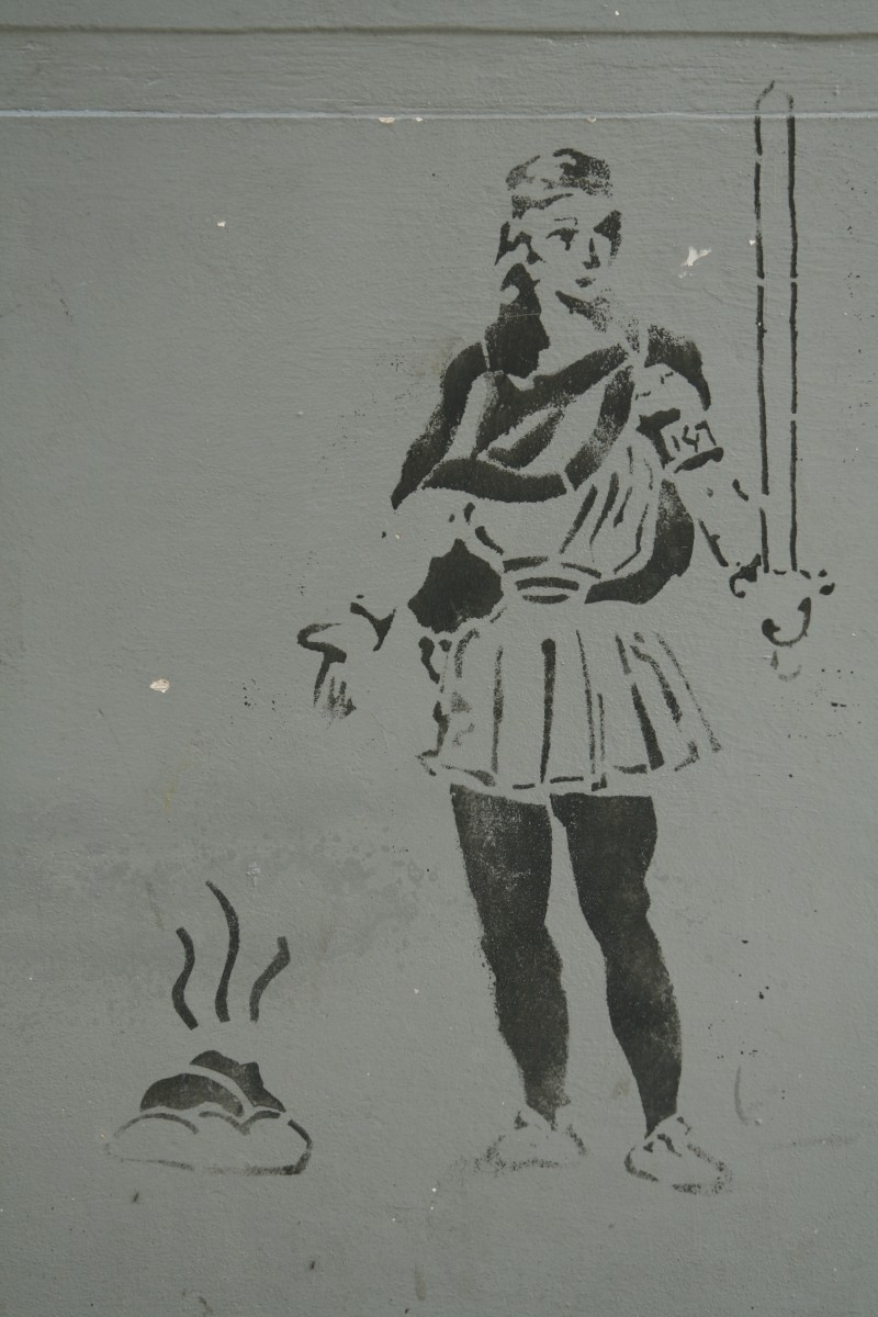 stencil of poop and soldier