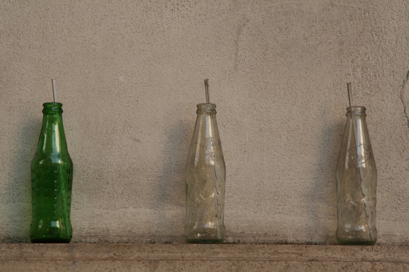 empty bottles on the wall
