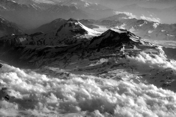 view of the andes from the air