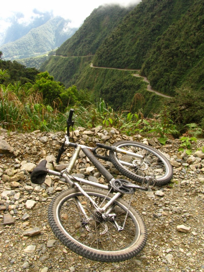bike on the death road in bolivia
