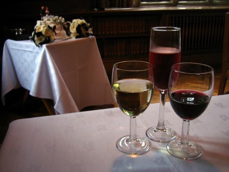 the wedding wine and cake